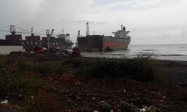 World's Biggest ship breaking yard alang royalty free stock images