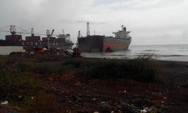 World's Biggest ship breaking yard alang. Ship breaking yard Bhavnagar India royalty free stock images