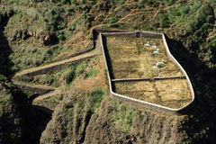 World's end cemetery. Bird's eye view on Cape Verde remote cemetery Royalty Free Stock Images