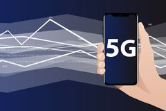 World`s fastest mobile internet 5G. Hand with phone. The screen shows 5G symbol. Data flow in the background. Vector illustration Stock Photography