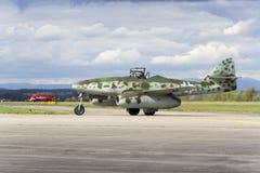 World's first operational jet-powered fighter aircraft Messerschmitt Me-262 Schwalbe rolling on runway Stock Photography