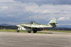 World's first operational jet-powered fighter aircraft Messerschmitt Me-262 Schwalbe rolling on runway Stock Image