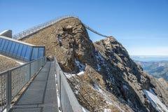 Suspension bridge, Glacier 3000 in Switzerland. The world`s first suspension bridge connecting two mountain peaks, Peak Walk at Glacier 3000 in Switzerland Stock Photo