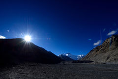 The world's highest peak mount Everest in Tibet. 2014 of the world's highest peak mount Everest in Tibet, I was lucky to start at four o 'clock in the morning Stock Images