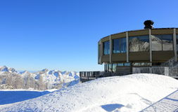 The world's highest revolving restaurant. Overlooking glaciers and the highest peaks of the Swiss Alps. Stock Images