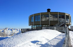 The world's highest revolving restaurant. Overlooking glaciers and the highest peaks of the Swiss Alps. Royalty Free Stock Photo