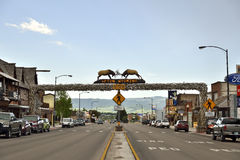 The World's Largest Elkhorn Arch. Afton, Wyoming, USA; June 02, 2015: In Afton city exist the world's largest Elkhorn Arch. Panoramic view of the street with stock photo