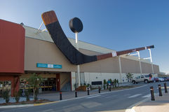 The World's Largest Hockey Stick & Puck. Cowichan Community Centre, in Duncan on Vancouver Island, BC Stock Photos