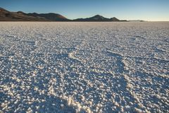 The world`s largest salt flat, Salar de Uyuni in Bolivia, photographed at sunrise Royalty Free Stock Images
