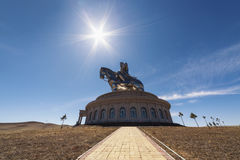 The world's largest statue of Chinghis Khan. Tsonjin Boldog, May, 06 2016: 40-meters tall statue of Genghis Khan on horseback. Statue Complex, Mongolia Royalty Free Stock Images