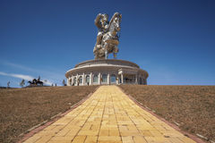 The world's largest statue of Chinghis Khan. Tsonjin Boldog, May, 06 2016: 40-meters tall statue of Genghis Khan on horseback. Statue Complex, Mongolia Royalty Free Stock Photography