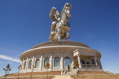 The world's largest statue of Chinghis Khan. Tsonjin Boldog, May, 06 2016: 40-meters tall statue of Genghis Khan on horseback. Statue Complex, Mongolia Royalty Free Stock Photo