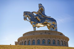 The world's largest statue of Chinghis Khan. Tsonjin Boldog, Mongolia - May, 06 2016: 40-meters tall statue of Genghis Khan on horseback. Statue Complex Stock Photo