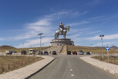 The world's largest statue of Chinghis Khan. Tsonjin Boldog,Mongolia - May, 06 2016: 40-meters tall statue of Genghis Khan on horseback. Statue Complex Royalty Free Stock Photo