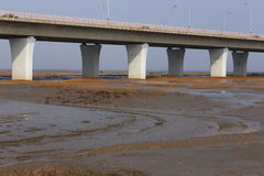 The world's longest bridge have vehicles in traffic Stock Photos
