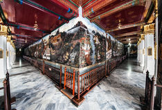World's longest mural painting, Wat Phra Kaew, Bangkok, landmark of Thailand. Stock Photos