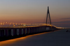 The longest bridge in the world in the sunset Royalty Free Stock Photos