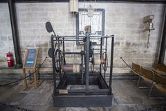 Worlds Oldest working clock. The worlds oldest working clock located in Salisbury Cathedral in England. The clock dates from about 1386 and is made of wrought royalty free stock images