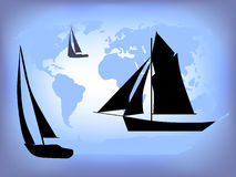 World of Sailing. Is hand drawn original artwork. The vector file uses a gradient mesh and is in AI-EPS8 format Stock Images