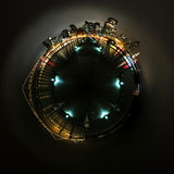 World of San Francisco. 360 degree stereographic panorama of the financial district in San Francisco Stock Image