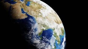 World from satellite showing worldwide surface from space - seamless loop