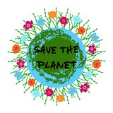 Save the Planet phrase with floral compositin on Earth background. Design for greeting cards, posters, banners, cloth, textile, fabric. Isolayted vector stock illustration
