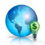 World Savings. Digital illustration concept of World Savings using a money savings idea light bulb Royalty Free Stock Photo