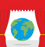 World scene. Red curtain opens Earth. Theatrical presentation by Royalty Free Stock Photos
