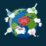 World science day. The World Science day concept. The planet earth with clouds and widespread chemical flasks symbolizing science around the globe. Vector Stock Image