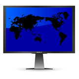 World on screen. Vector illustration of the world on screen Royalty Free Stock Photos