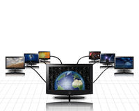 World in screen connected to more Royalty Free Stock Images