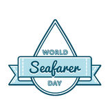 World Seafarer day greeting emblem. World Seafarer day emblem isolated vector illustration on white background. 25 june global professional holiday event label Stock Photos