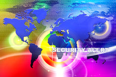 World Security Alert. An image for the concept of Worldwide network Security Alert Technology. This image shows a background containing computer code, the world Royalty Free Stock Photography