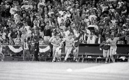 1990 World Series Champion Cincinnati Reds. Members of the Cincinnati Reds run onto the field in Oakland after winning the 1990 World Series. Image taken from a stock photo