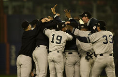 2000 World Series Champions. New York Yankees celebrate on the infield after beating the New York Mets in the 2000 World Series.  (Image taken from color slide Stock Photos