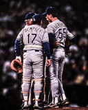 1988 World Series, Meeting on the Mound. Royalty Free Stock Photos