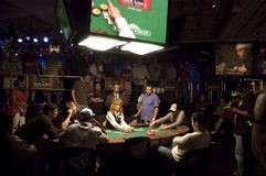 World Series of Poker Featured Table. Scene of a featured table for one of the many events at the World Series of Poker. The WSOP is held every year at the Rio Stock Photography