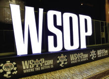 World Series of Poker (WSOP) Sign at Rio Pavilion Room. The World Series of Poker (WSOP) is a world-renowned series of poker tournaments held annually in Las Royalty Free Stock Photo