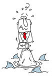 World of sharks. A businessman lost on a rock with sharks around him Royalty Free Stock Images