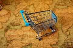 World shopping cart globalisation Stock Images
