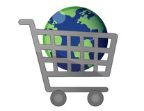 World Shopping Cart Globalization Stock Photo