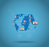 World shopping online vector. World shopping online via smartphone, tablet, laptop and desktop Royalty Free Stock Photo