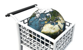 World in shopping trolley Royalty Free Stock Photography