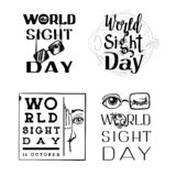 World sight day banner set, simple style vector illustration