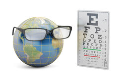 World Sight Day concept, eyeglasses with Earth globe  Stock Photography