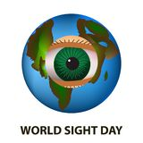 World Sight Day. October 11. Planet Earth. Eye anatomical structure. Vector illustration on isolated background Royalty Free Stock Photography