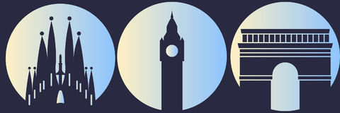 World sights. Big Ben, Arco di Tito, Sagrada Familia. Vector illustration Royalty Free Stock Photo