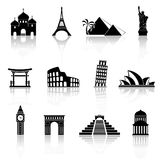 World sights icons. World famous buildings abstract silhouettes. Vector icons with reflection vector illustration