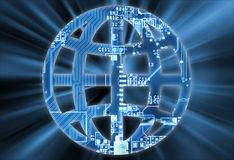 World sign concept with electronic circuit Stock Image