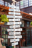 World sign - milestones. Milestones world sign at the street, Spain Royalty Free Stock Images